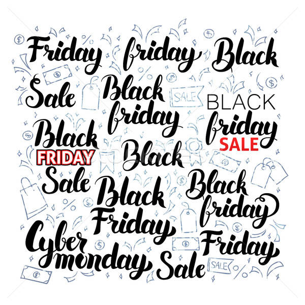 Black Friday Lettering with Doodles Stock photo © Anna_leni