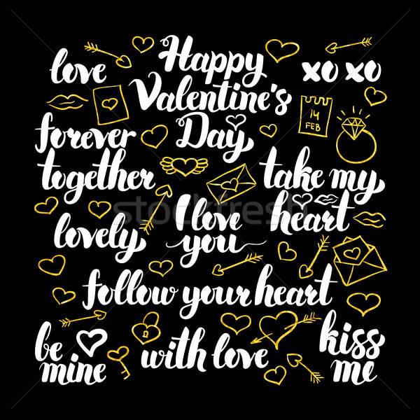 Valentine dia caligrafia projeto amor férias Foto stock © Anna_leni