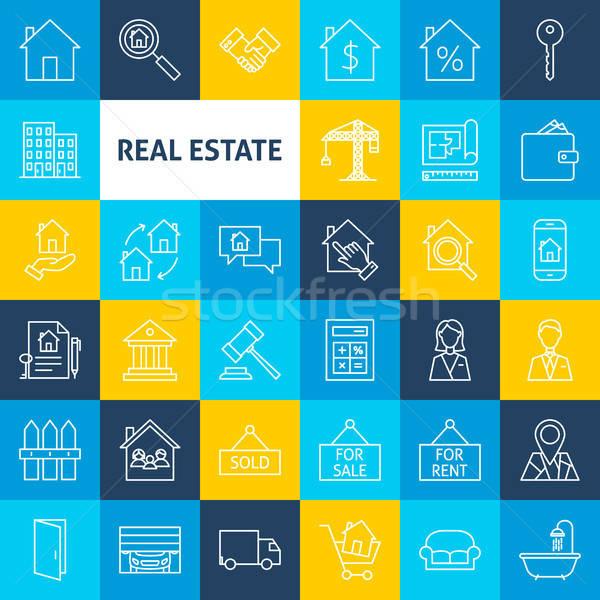 Vector Line Real Estate Icons Stock photo © Anna_leni