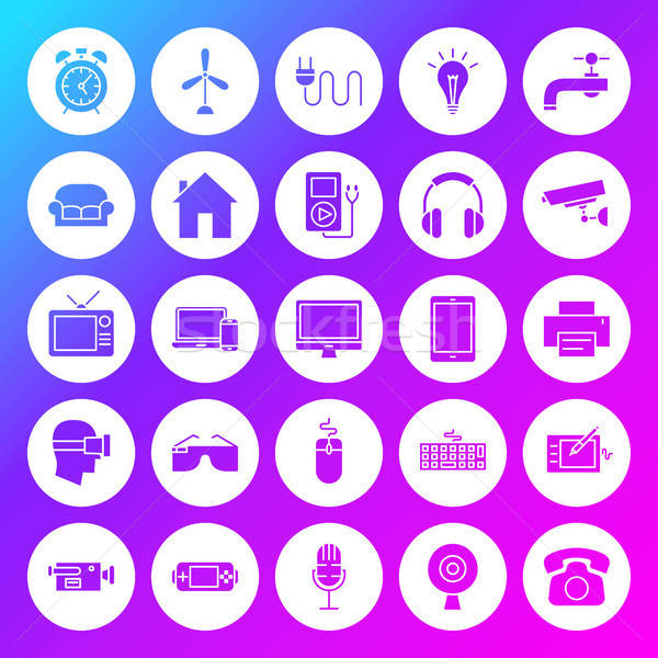Household Appliance Solid Circle Icons Stock photo © Anna_leni