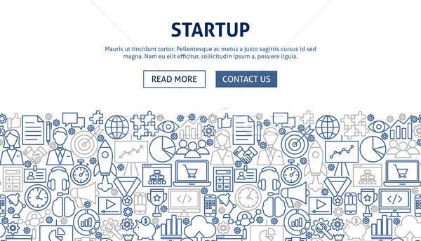 Startup banner ontwerp lijn web business Stockfoto © Anna_leni