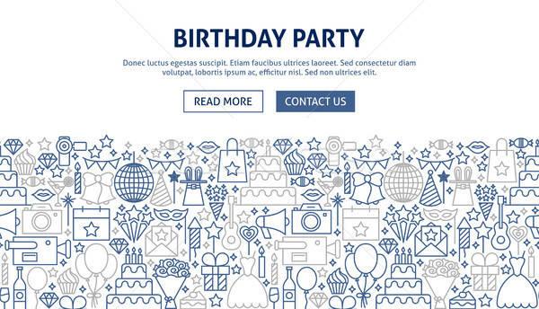 празднование дня рождения баннер дизайна линия веб музыку Сток-фото © Anna_leni