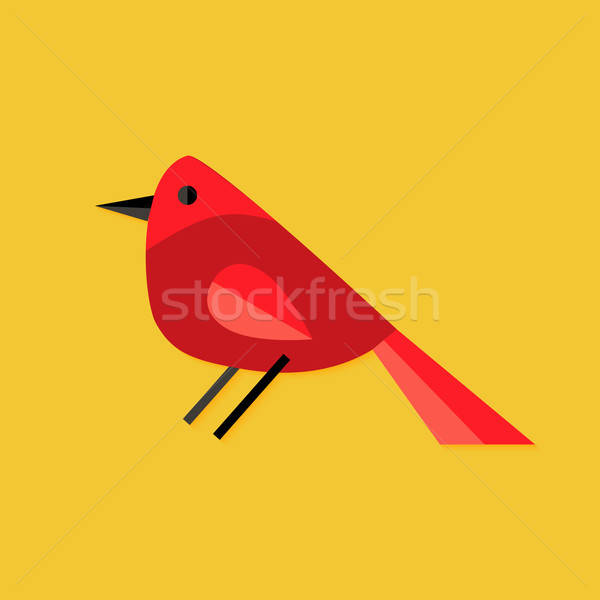 Bullfinch Bird Christmas Flat Icon Stock photo © Anna_leni