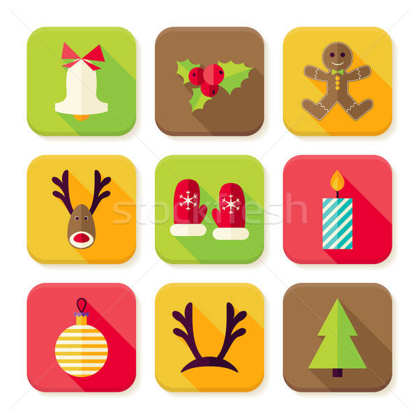 Stock photo: New Year Merry Christmas Square App Icons Set