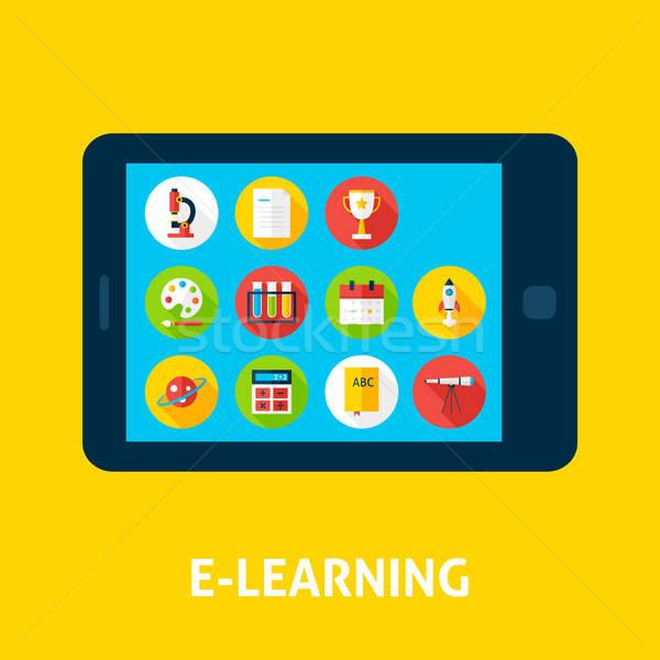 Elektronikus tanul tabletta terv online oktatás Stock fotó © Anna_leni