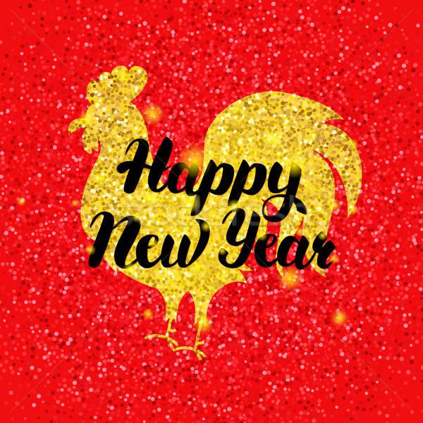 Vermelho chinês galo ano novo inverno férias Foto stock © Anna_leni