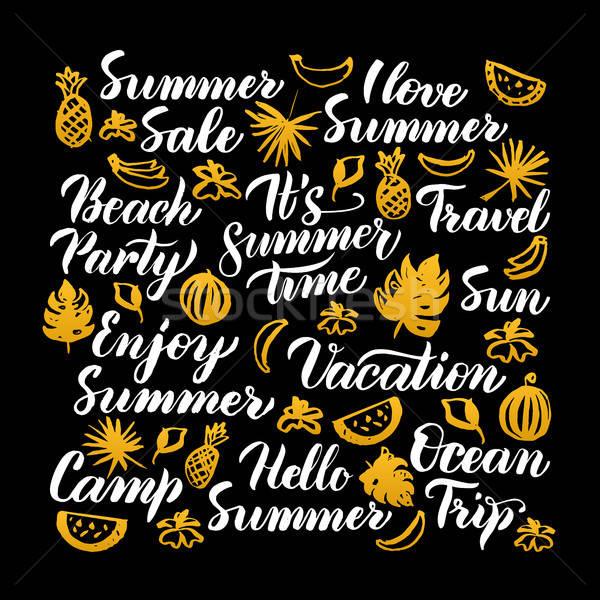 Merhaba yaz kaligrafi dizayn mevsimlik meyve Stok fotoğraf © Anna_leni