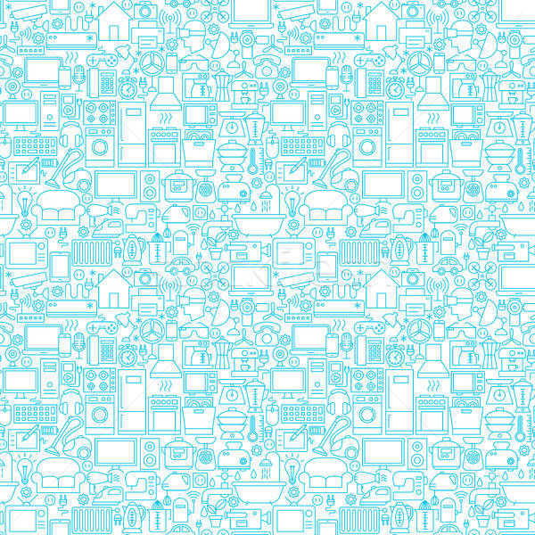 Line Household White Seamless Pattern Stock photo © Anna_leni