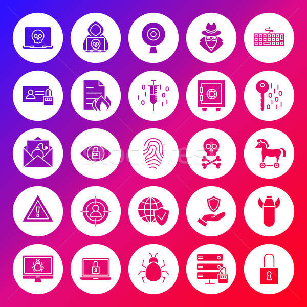 Internet Security Solid Circle Icons Stock photo © Anna_leni