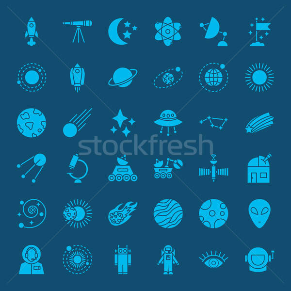 Space Glyph Web Icons Stock photo © Anna_leni