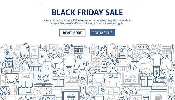 черная пятница продажи баннер дизайна линия веб Сток-фото © Anna_leni
