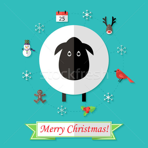 Christmas Card with Sheep over Blue Stock photo © Anna_leni