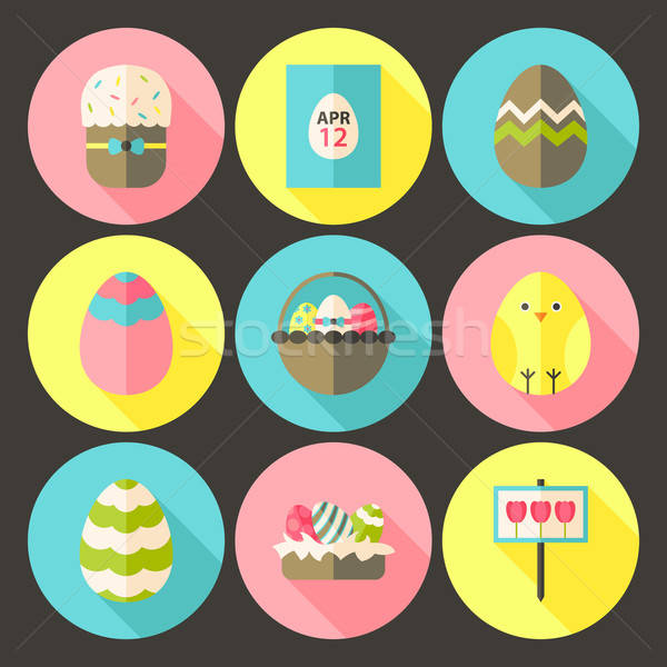 Easter flat styled circle icon set 1 with long shadow Stock photo © Anna_leni
