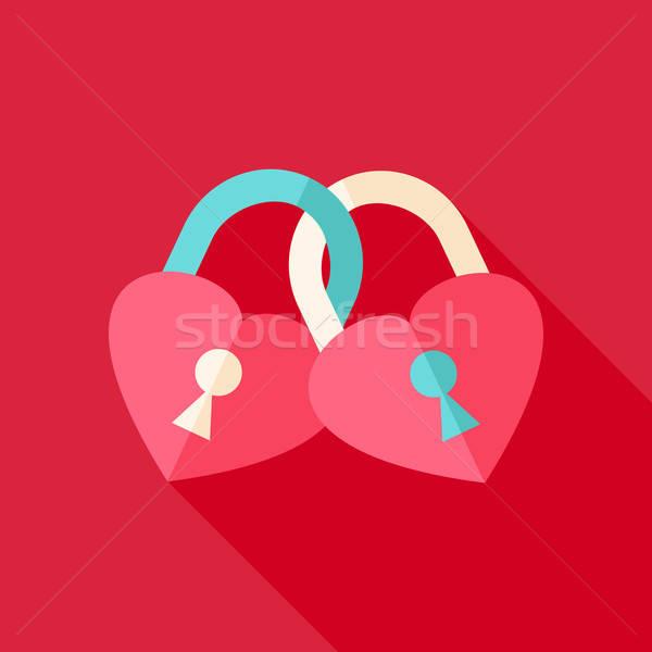 Dos corazón estilizado objeto largo Foto stock © Anna_leni
