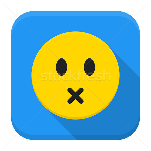 Silent yellow smile app icon with long shadow Stock photo © Anna_leni