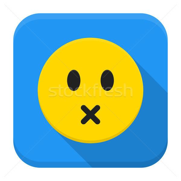 Silenzioso giallo sorriso app icona lungo Foto d'archivio © Anna_leni
