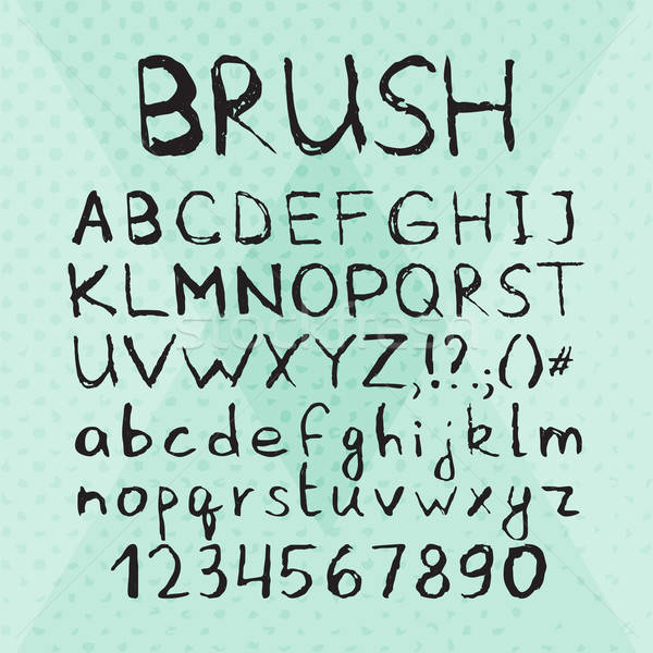 Ink Pen Brush Hand Drawn Font Stock photo © Anna_leni