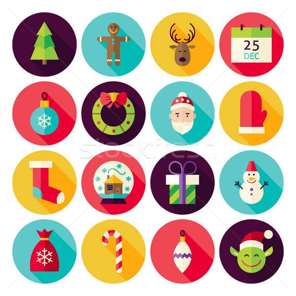 веселый Рождества Новый год круга долго Сток-фото © Anna_leni