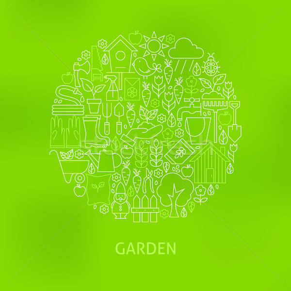 Thin Line Green Gardening and Flowers Icons Set Circle Concept Stock photo © Anna_leni