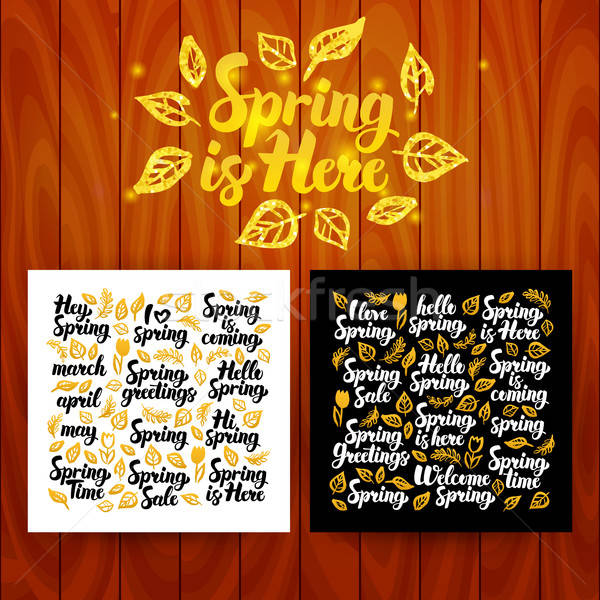 Spring is Here Lettering Postcards Stock photo © Anna_leni