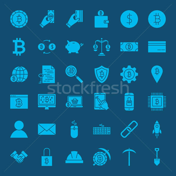 Cryptocurrency Glyphs Website Icons Stock photo © Anna_leni