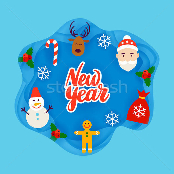 New Year Papercut Concept Stock photo © Anna_leni