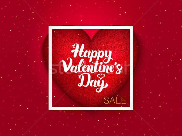 Happy Valentines Day Red Postcard Stock photo © Anna_leni