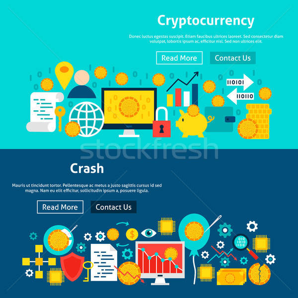 Website Cryptocurrency Banners Stock photo © Anna_leni