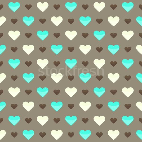 Cute kleurrijk harten bruin illustratie Stockfoto © Anna_leni