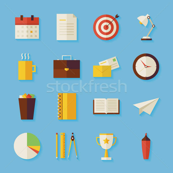 Flat Business and Office Objects Set with Shadow Stock photo © Anna_leni