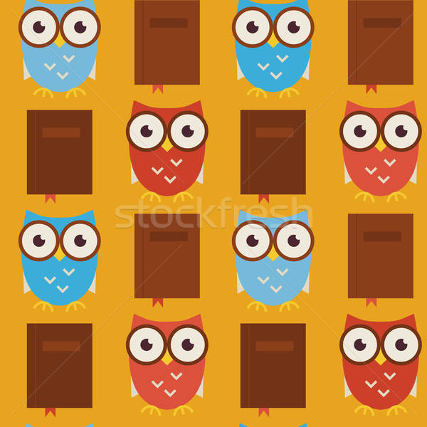 Flat Vector Seamless Pattern Wisdom and Knowledge Owls with Book Stock photo © Anna_leni