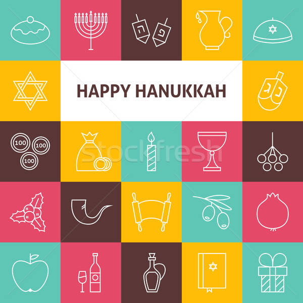 Line Art Happy Hanukkah Jewish Holiday Icons Set Stock photo © Anna_leni
