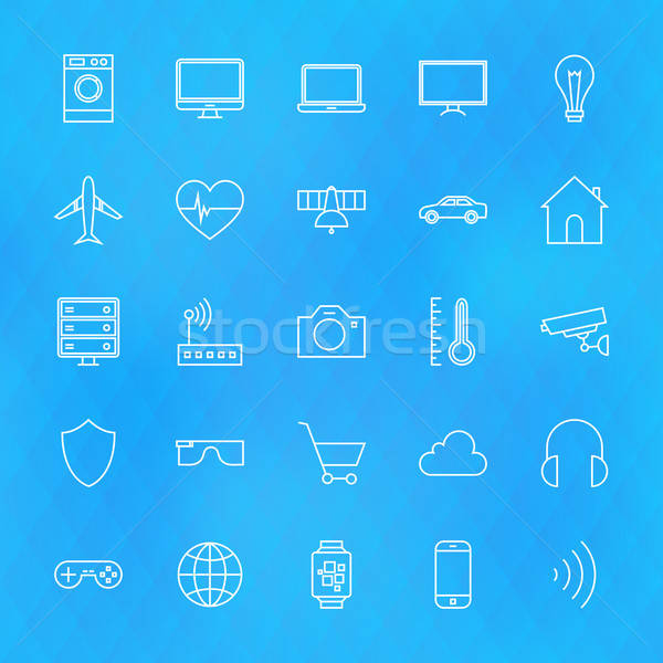 Internet of Things Line Icons Set over Polygonal Background Stock photo © Anna_leni