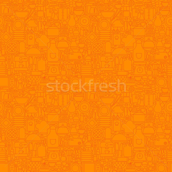 Orange Thin Line Kitchen Utensil and Cooking Seamless Pattern Stock photo © Anna_leni