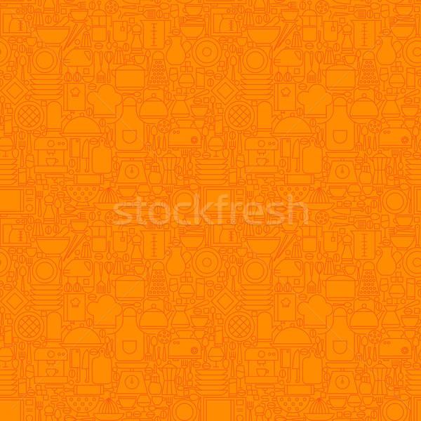 Arancione sottile line utensile da cucina cottura Foto d'archivio © Anna_leni