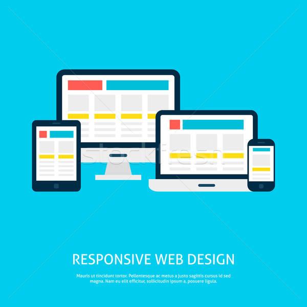 Duyarlı web tasarım dizüstü bilgisayar masaüstü tablet Stok fotoğraf © Anna_leni
