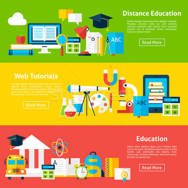 Distance Education and Web Tutorials Flat Horizontal Banners Stock photo © Anna_leni