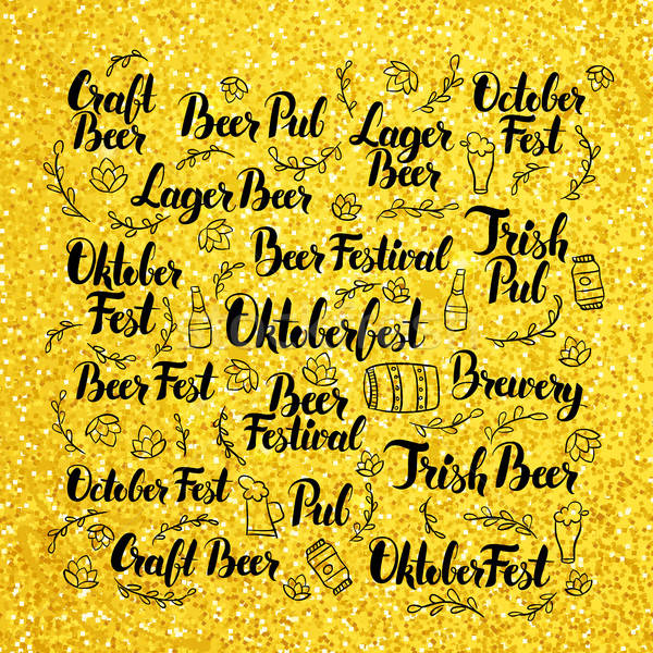 October Beer Fest Gold Lettering Design Stock photo © Anna_leni