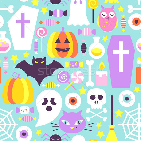 Trendy Colors Halloween Seamless Pattern Stock photo © Anna_leni
