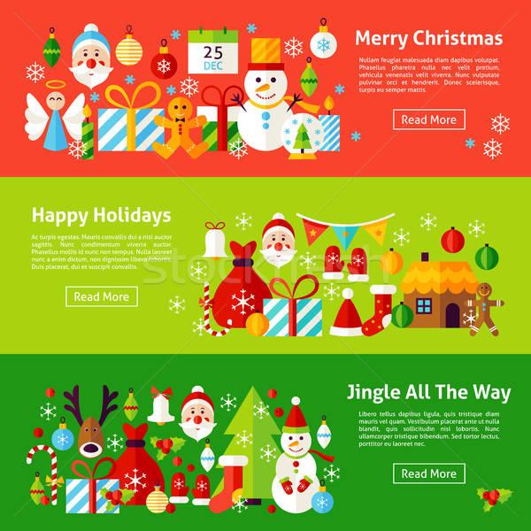 Merry Christmas Web Horizontal Banners Stock photo © Anna_leni