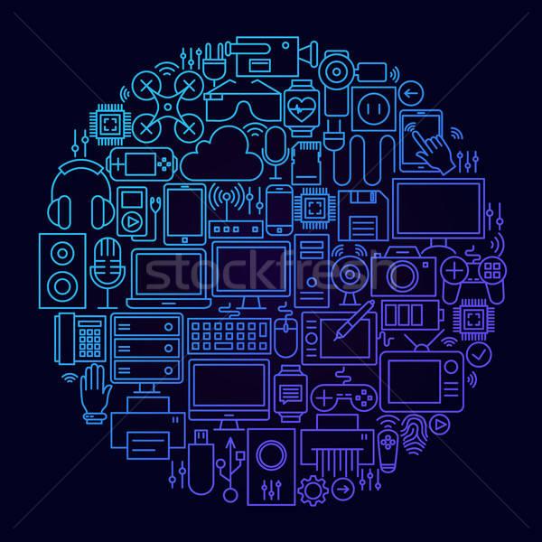 Szerkentyű vonal ikon kör technológia elektronika Stock fotó © Anna_leni