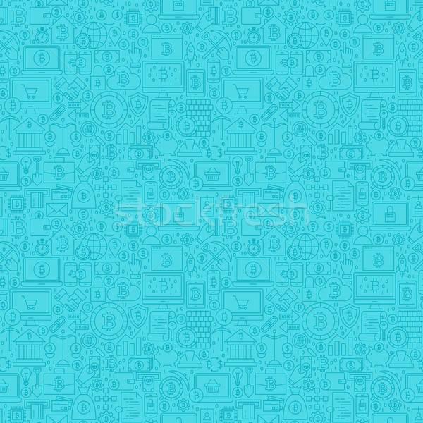 Blauw lijn bitcoin schets tegel Stockfoto © Anna_leni