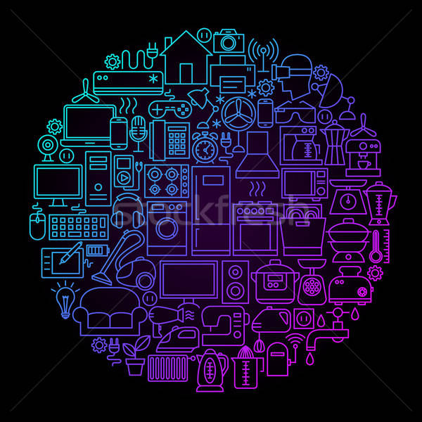 Household Appliance Line Circle Concept Stock photo © Anna_leni