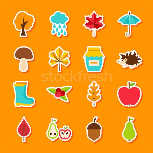 Zdjęcia stock: Jesienią · naklejki · stylu · zestaw · spadek · sezonowy