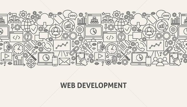 веб развития баннер линия веб-дизайн здании Сток-фото © Anna_leni
