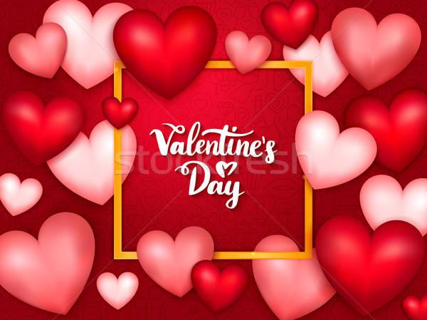 Valentin nap szalag szívek szeretet boldog pár Stock fotó © Anna_leni