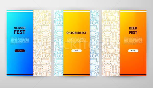 Oktoberfest Broschüre Web-Design Gliederung Banner Party Stock foto © Anna_leni