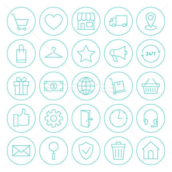 Line Circle Online Shopping E-commerce Website Icons Set Stock photo © Anna_leni