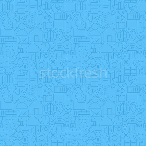 Thin Line Website and Mobile User Interface Blue Seamless Patter Stock photo © Anna_leni