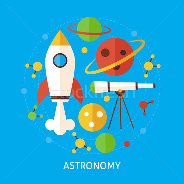 Astronomie science vecteur affiche design ensemble Photo stock © Anna_leni